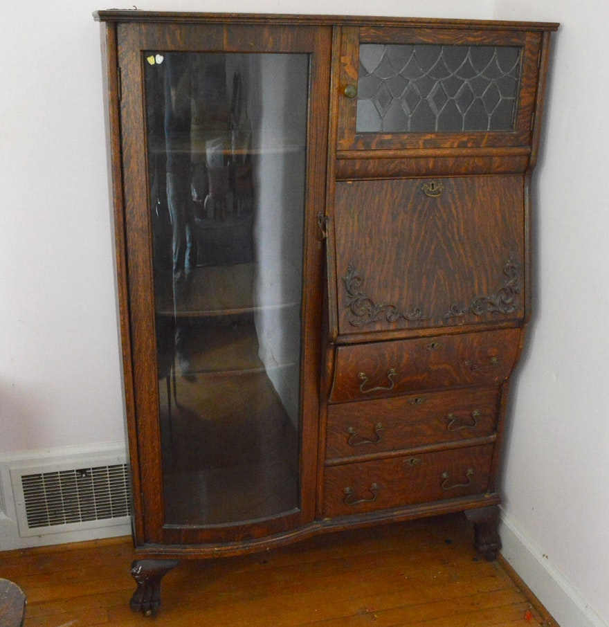 Antique Secretary Desk with Bow Front Curio Cabinet ... - Antique Secretary Desk With Bow Front Curio Cabinet : EBTH