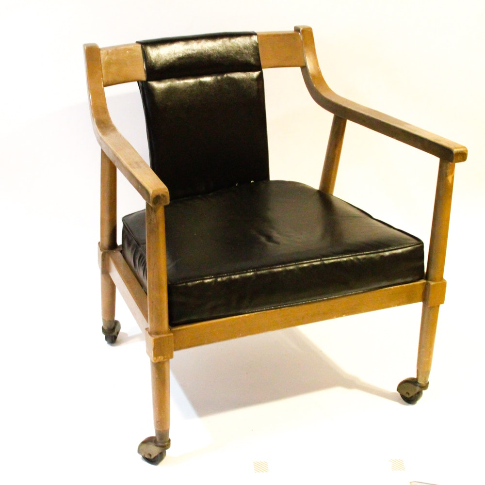 Vintage Leather Arm Chair on Wheels
