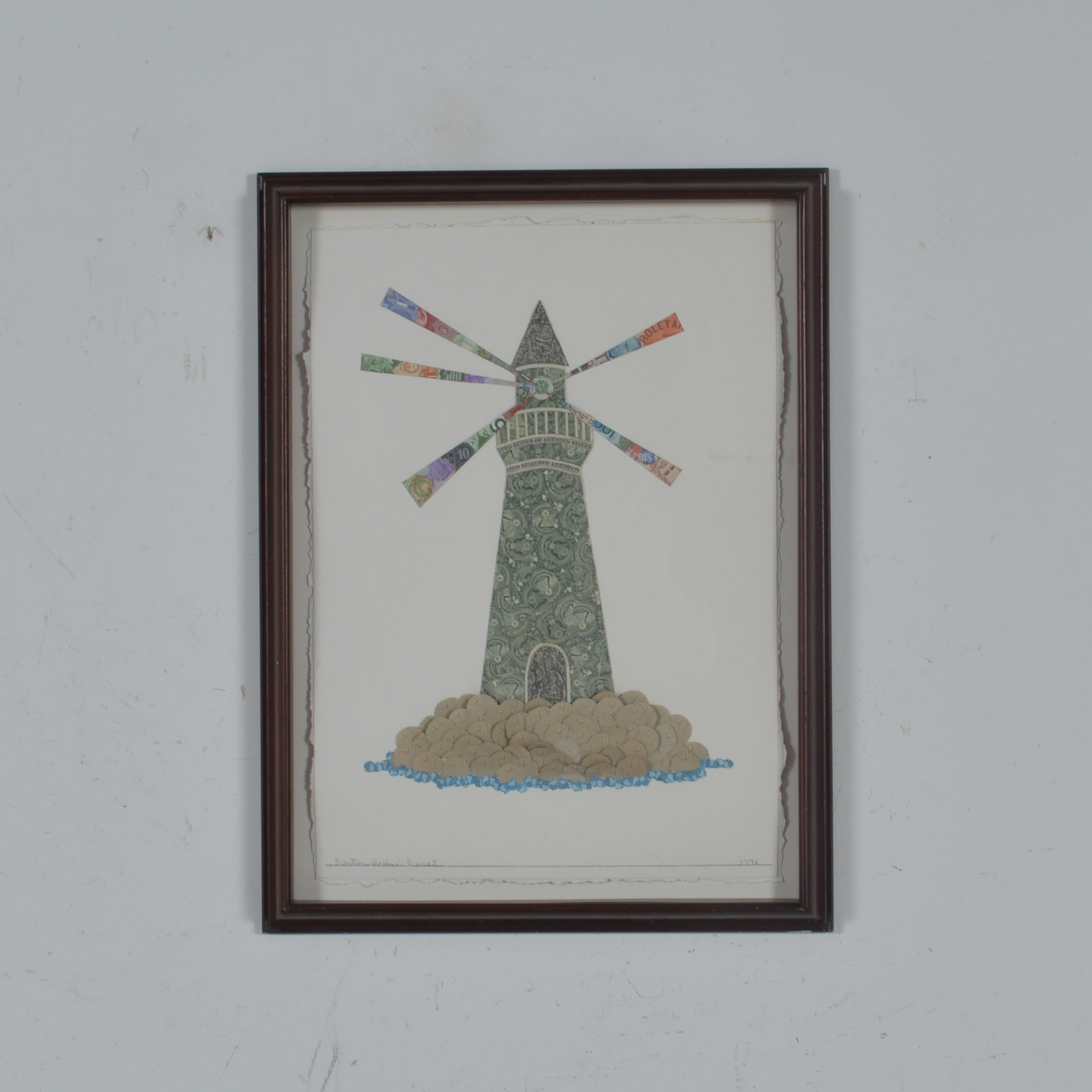 "Barton Lidice Beneš Mixed-Media ""Money Lighthouse"""