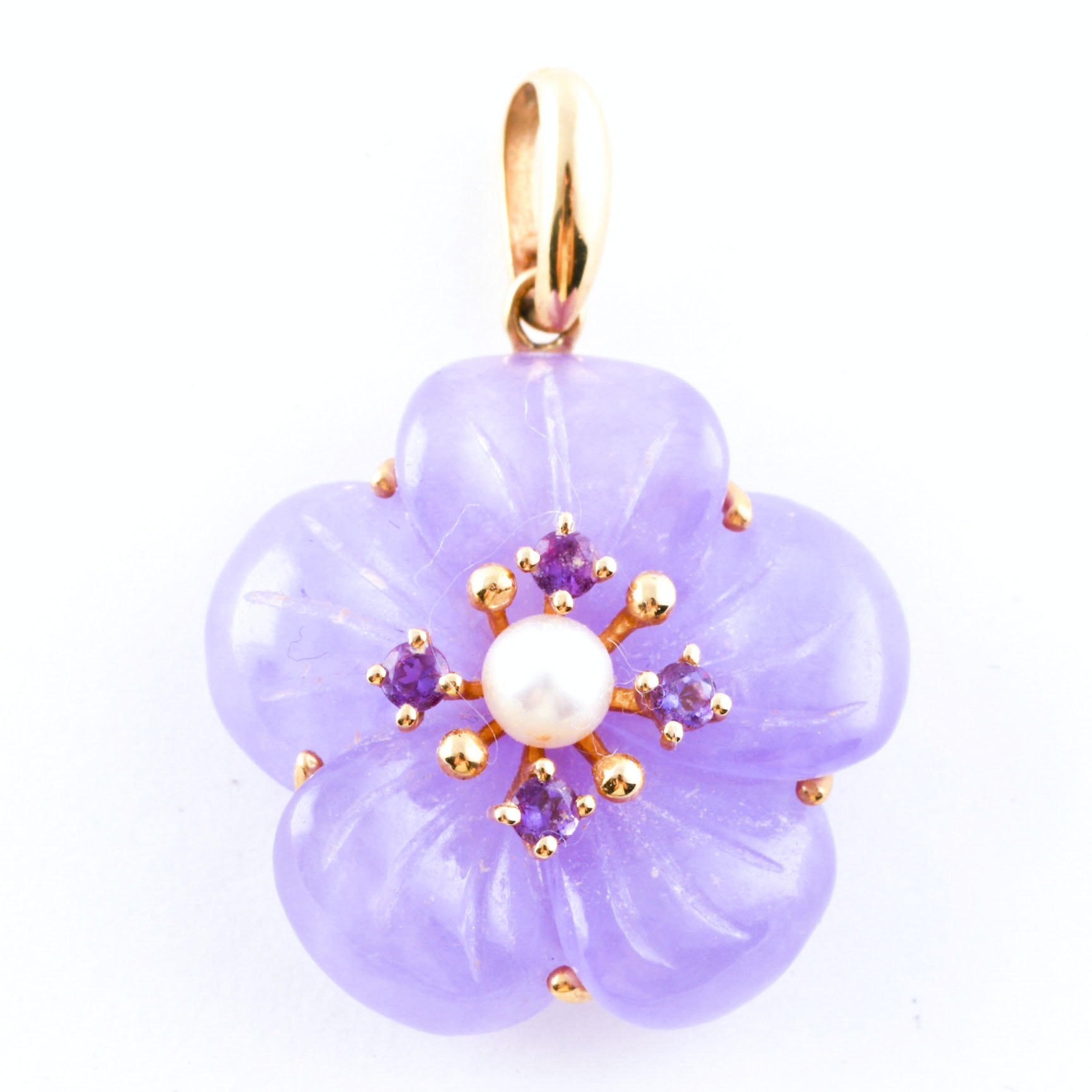 14K Yellow Gold Pearl, Amethyst, and Lavender Jade Floral Pendant