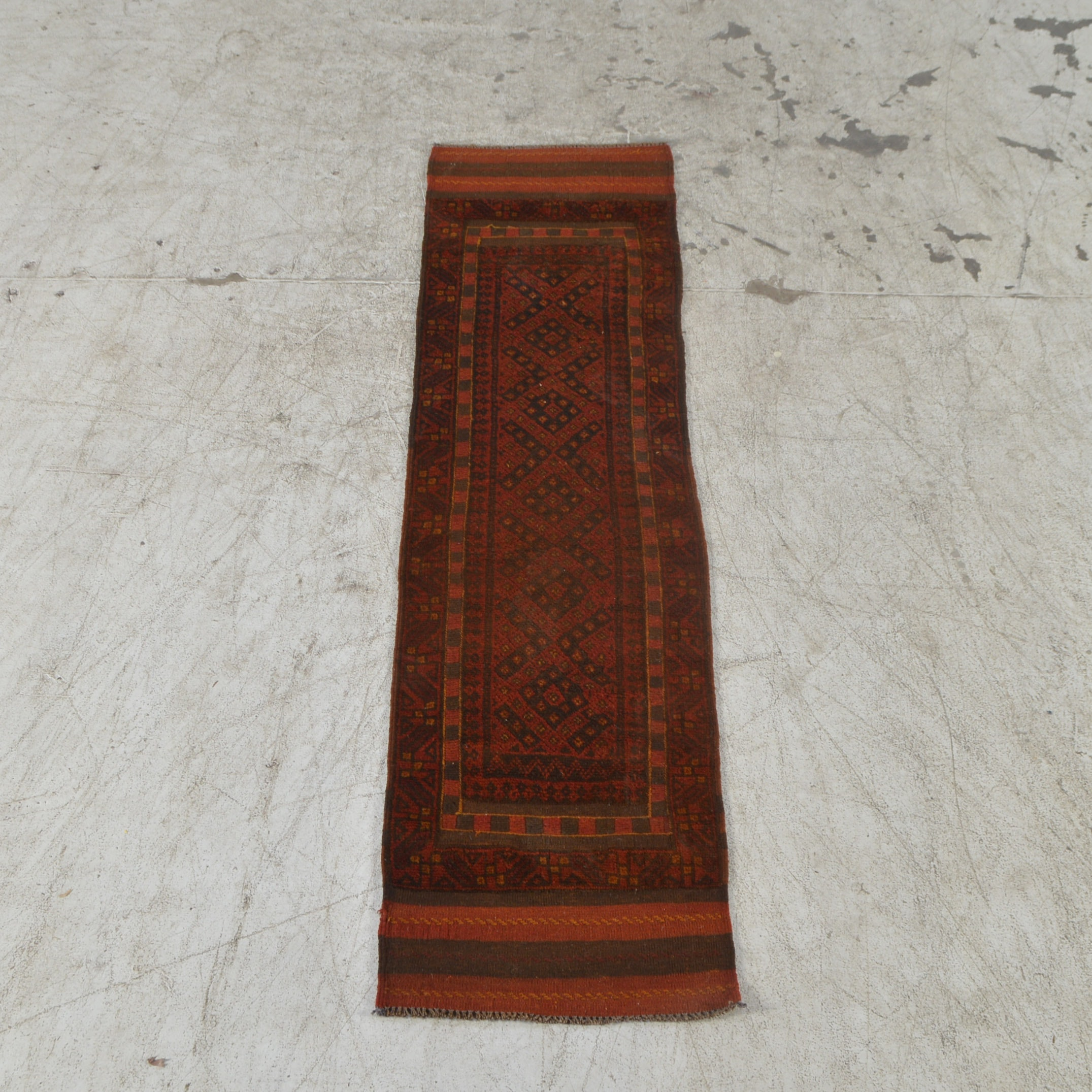 Hand-Knotted and Embroidered Baluch Wool Carpet Runner