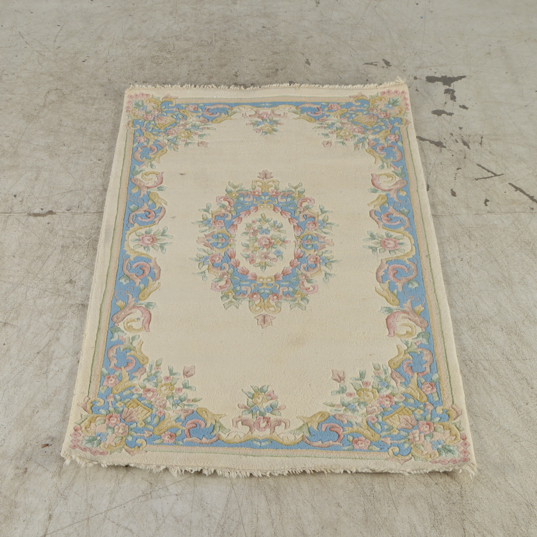 Handwoven Carved Aubusson-Style Area Rug