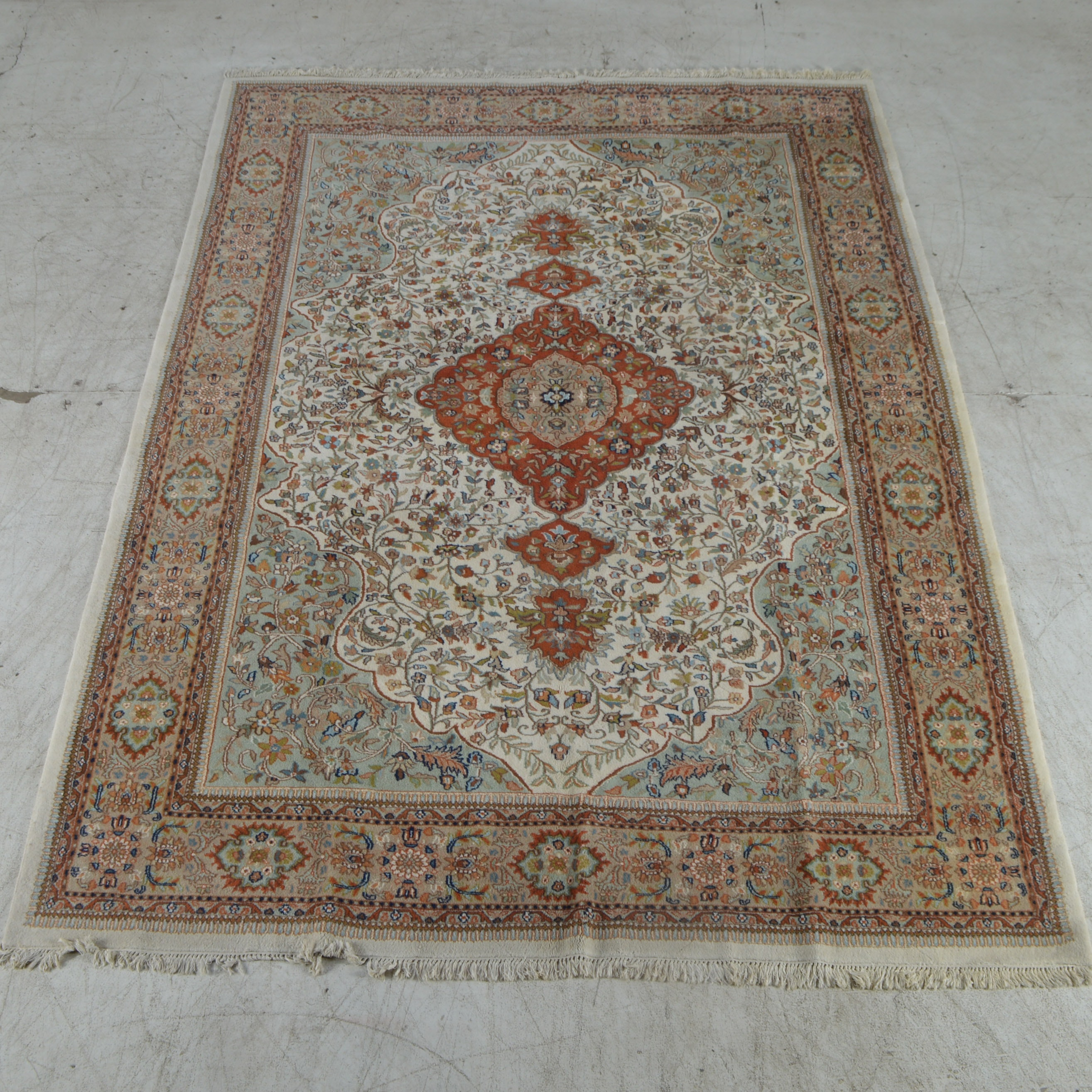 Hand-Knotted Persian-Inspired Room-Size Medallion Area Rug
