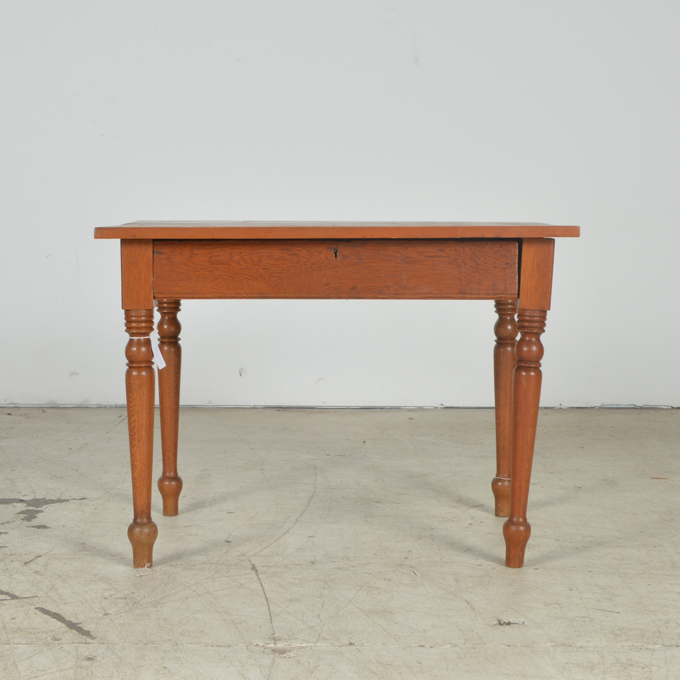 Antique Pine and Oak Kitchen Table with Turned Legs