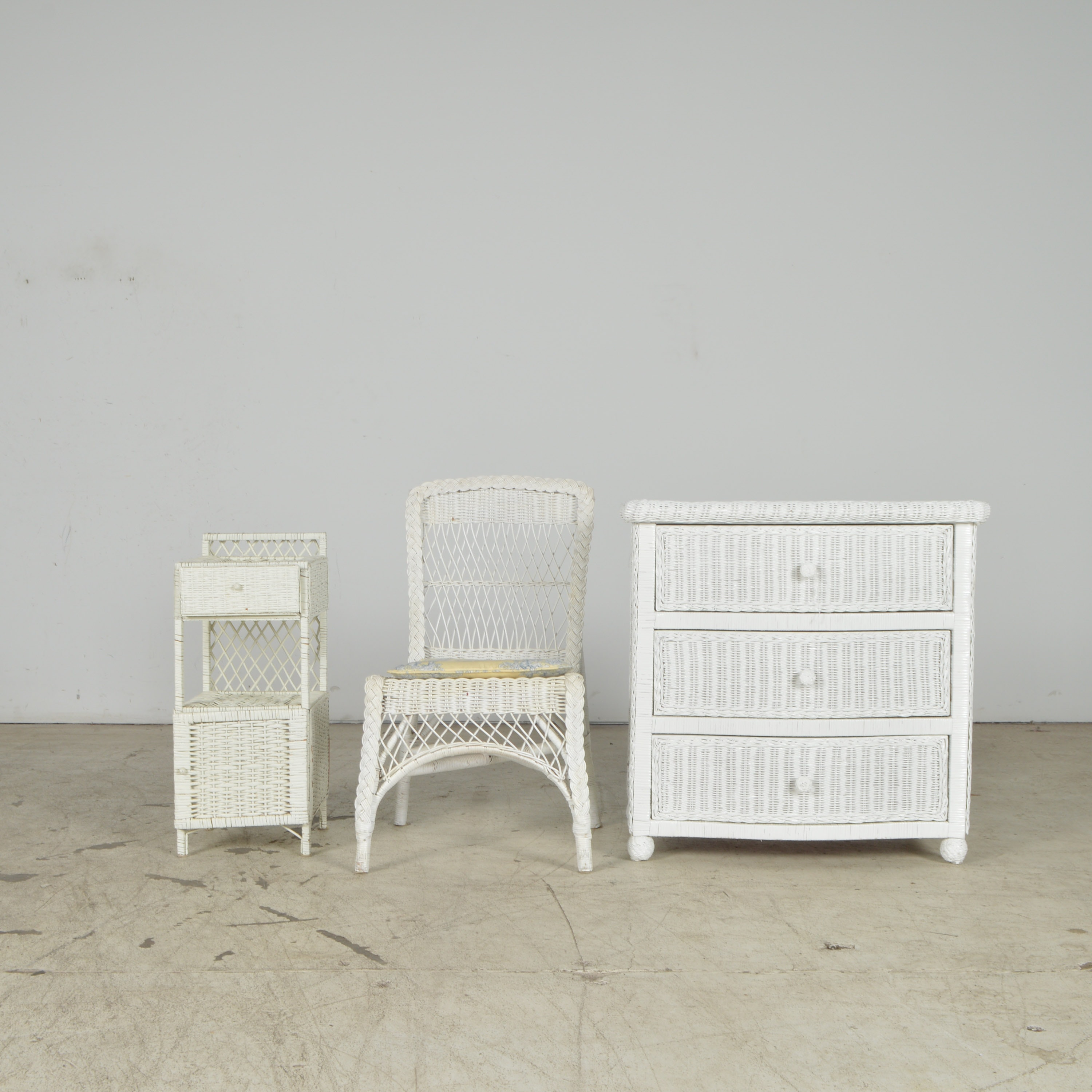 White Wicker Dresser, Chair, and End Table