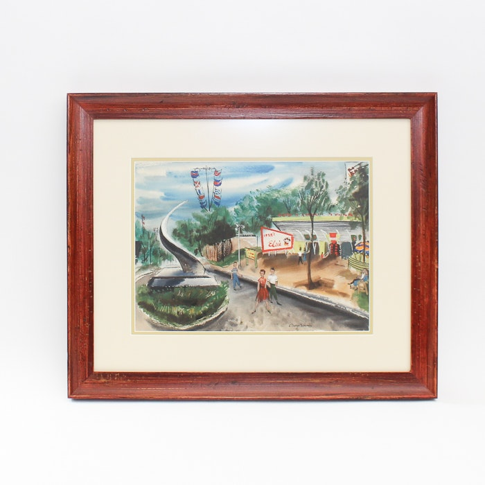 """Signed Watercolor """"Elsie's Here"""" by  Lillian Desow Fishbein"""