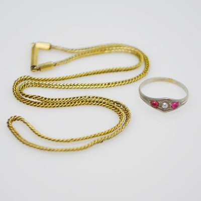 Victorian 14K Yellow Gold Baby Necklace and 10K White Gold Synthetic Ruby and Natural Pearl Baby Ring