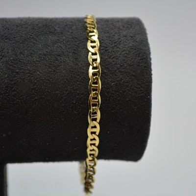 18K Yellow Gold Anchor Chain Bracelet