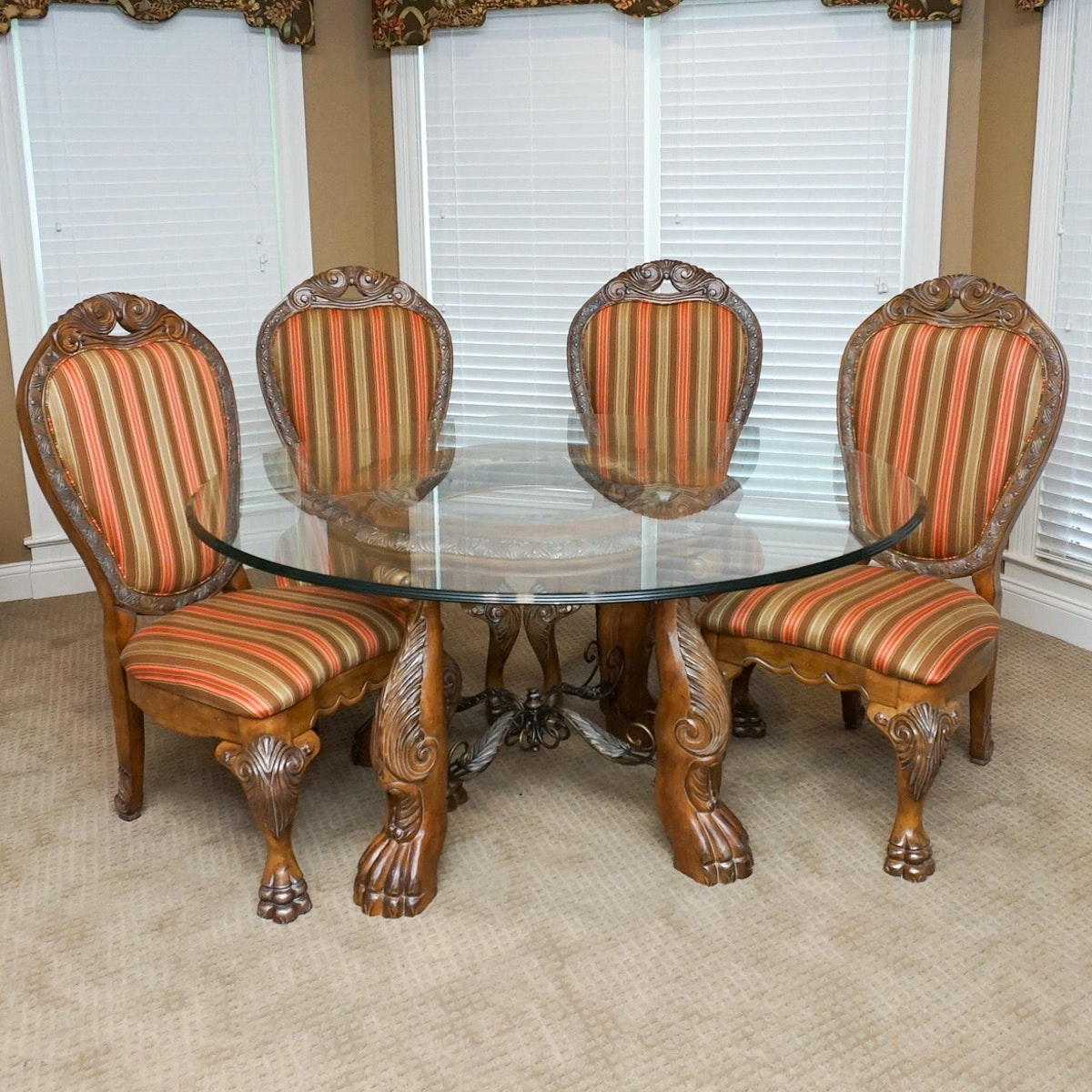 """Michael Amini Dining Room Furniture: Michael Amini """"Paradisio"""" Dining Table And Chairs By AICO Furniture : EBTH"""