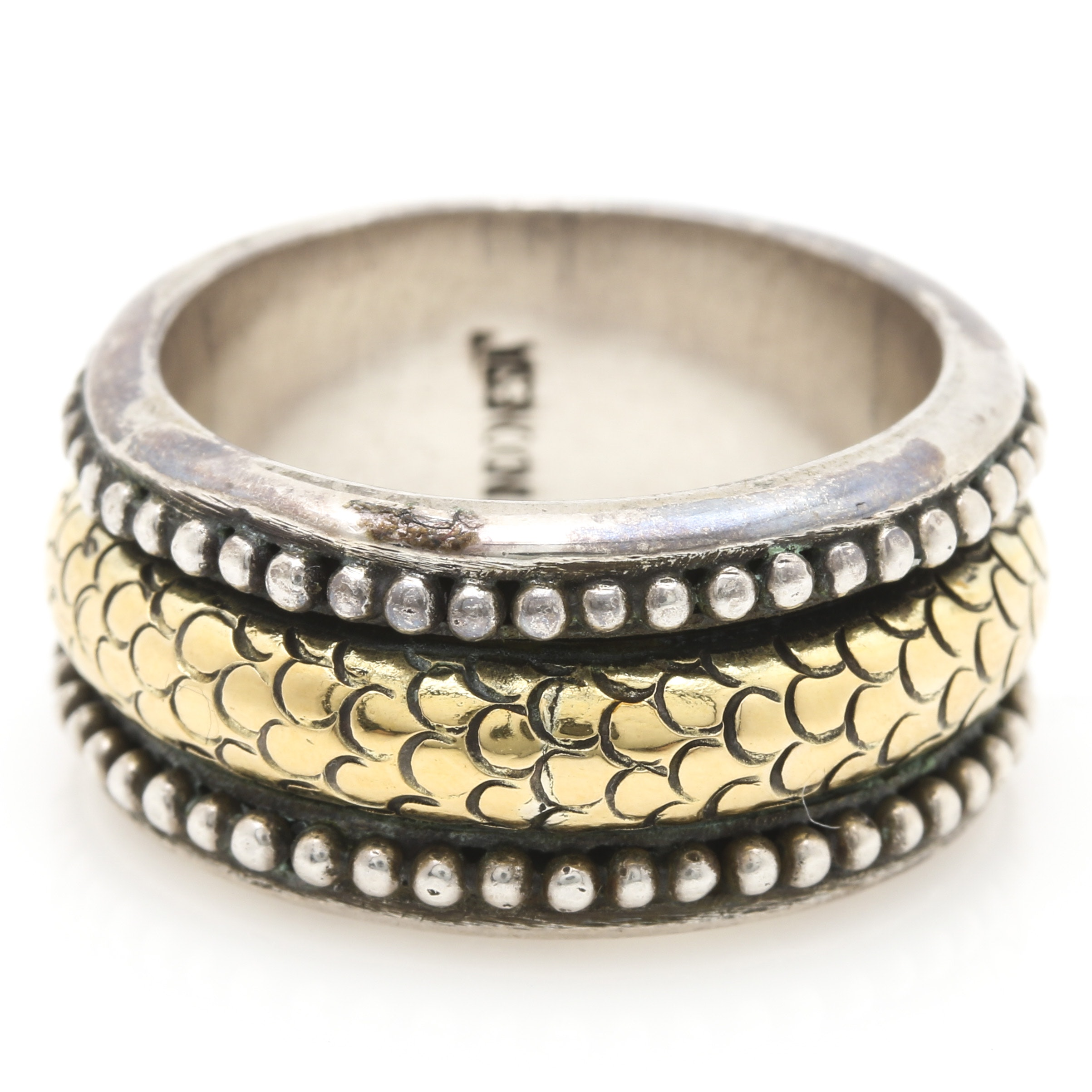 John Hardy Sterling Silver and 18K Yellow Gold Articulated Ring