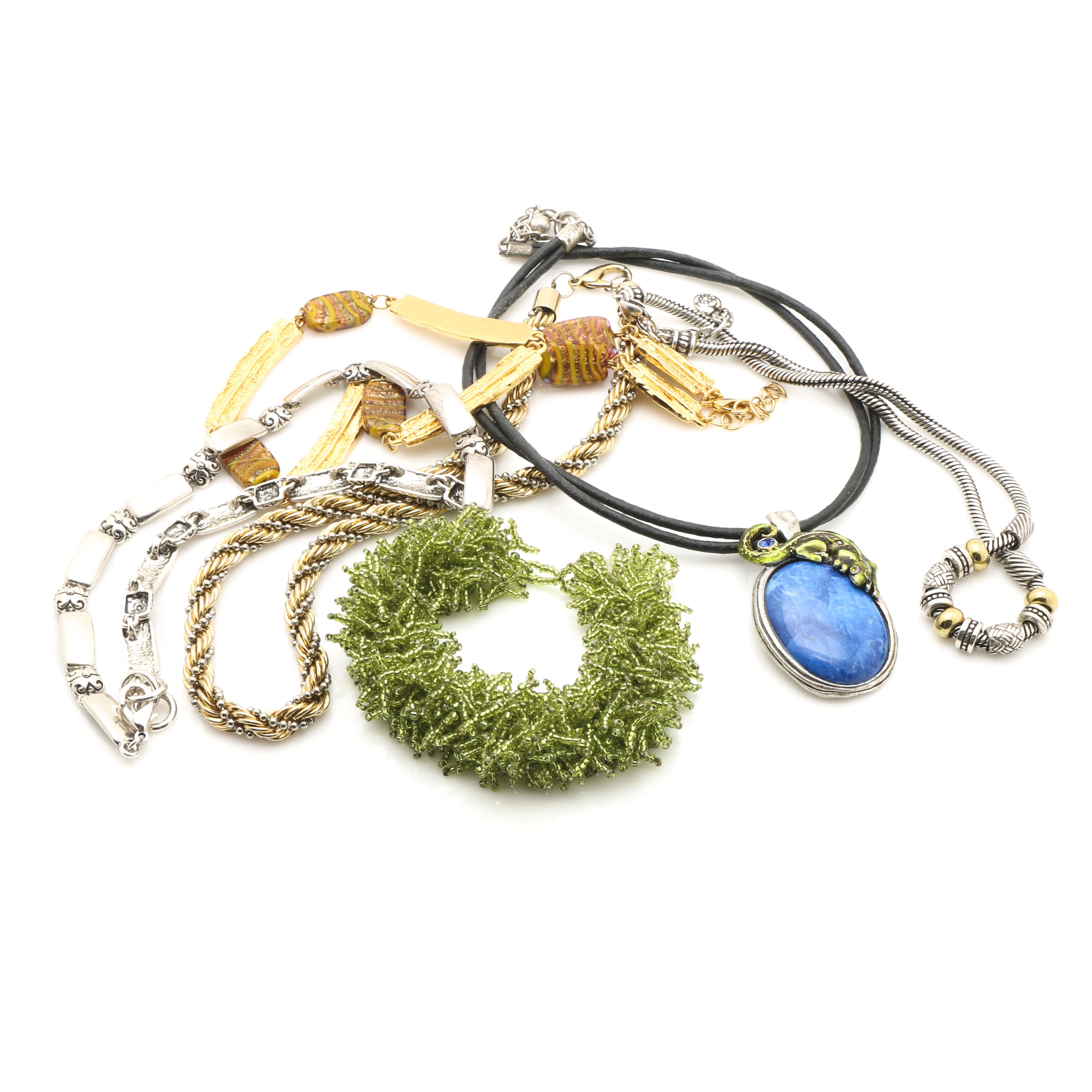 Silver and Gold Tone Bracelet and Necklaces
