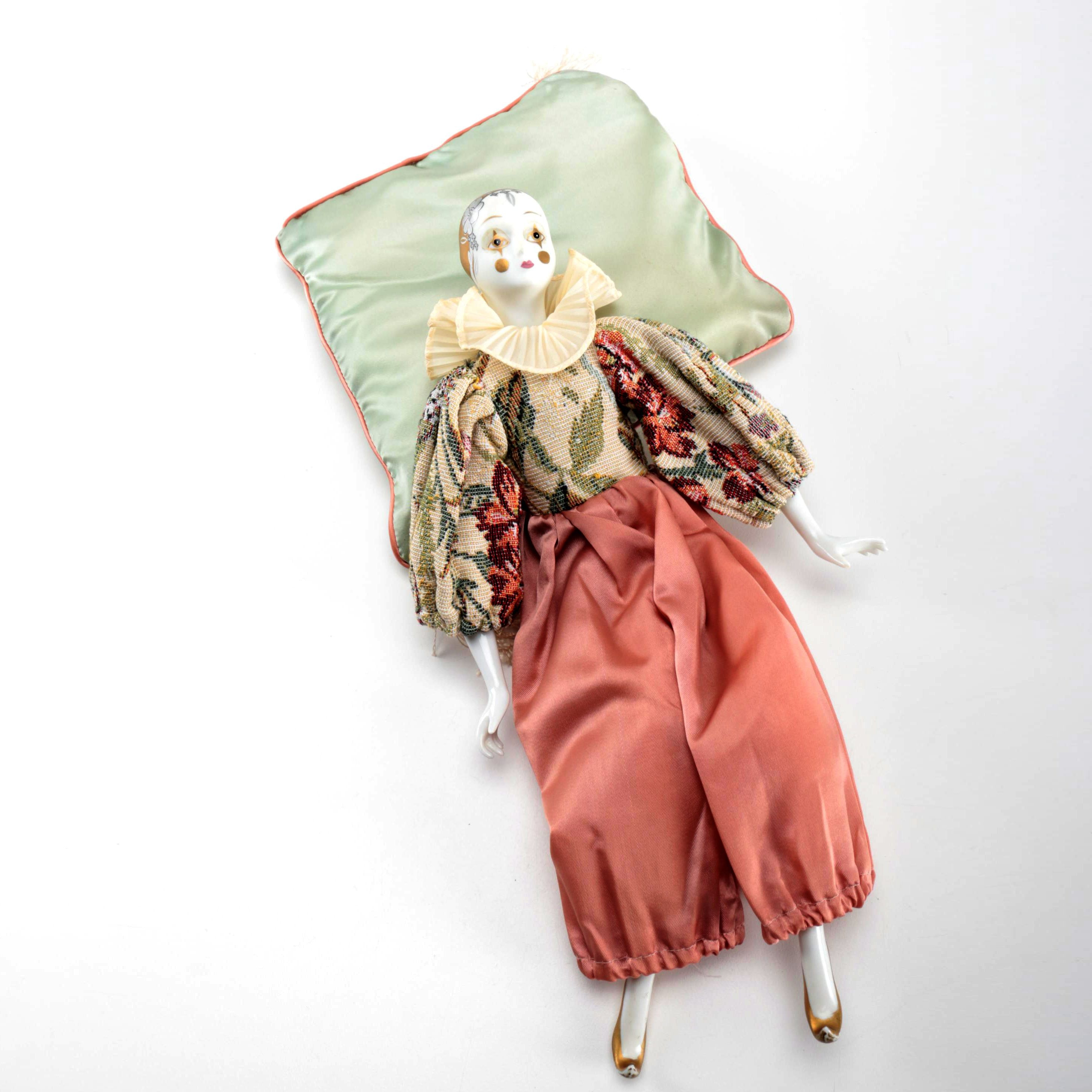 Porcelain Doll and Silk Pillow