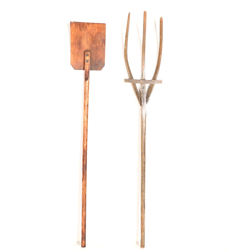 Antique Grain Shovel And Pitchfork