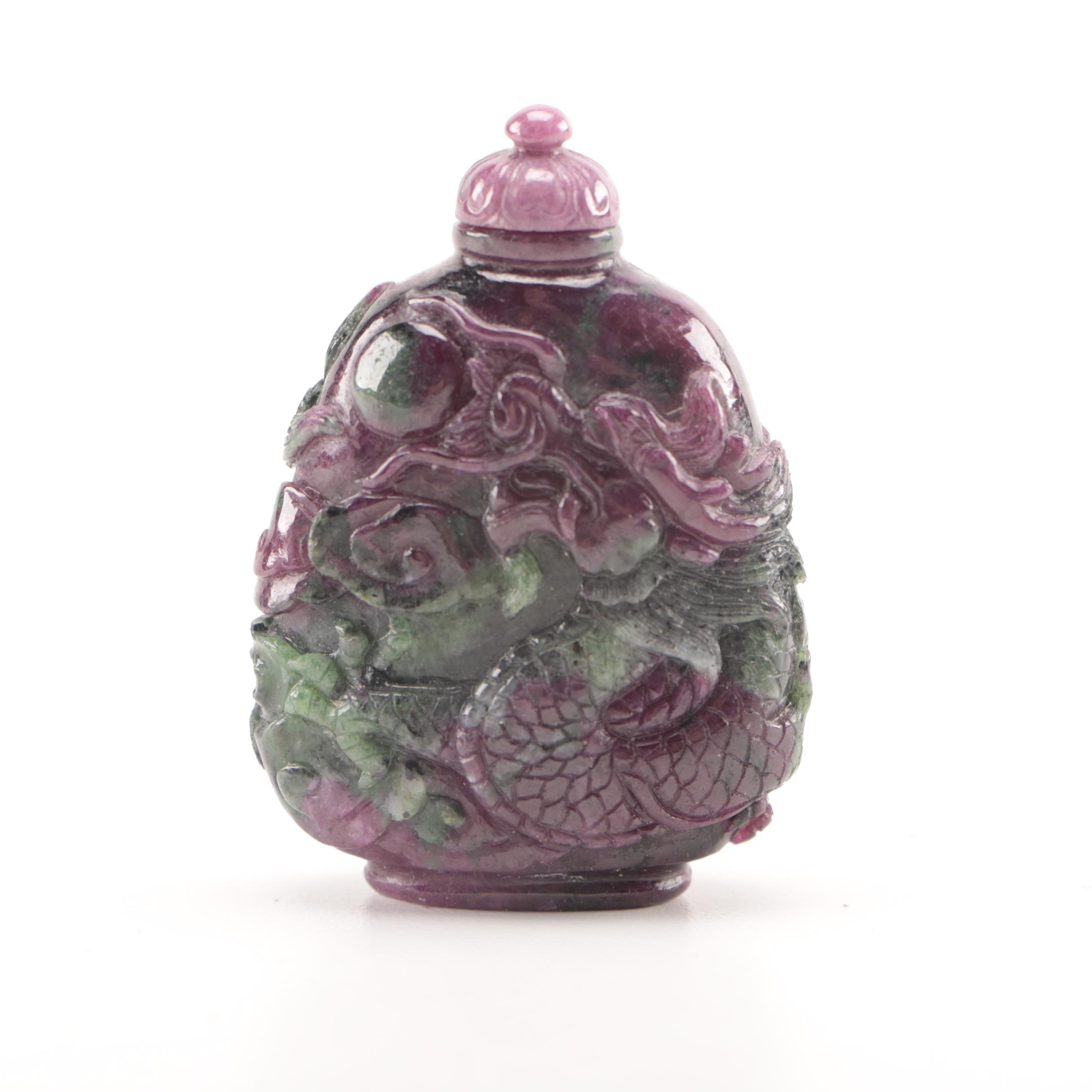 Chinese Ruby Zoisite Snuff Bottle