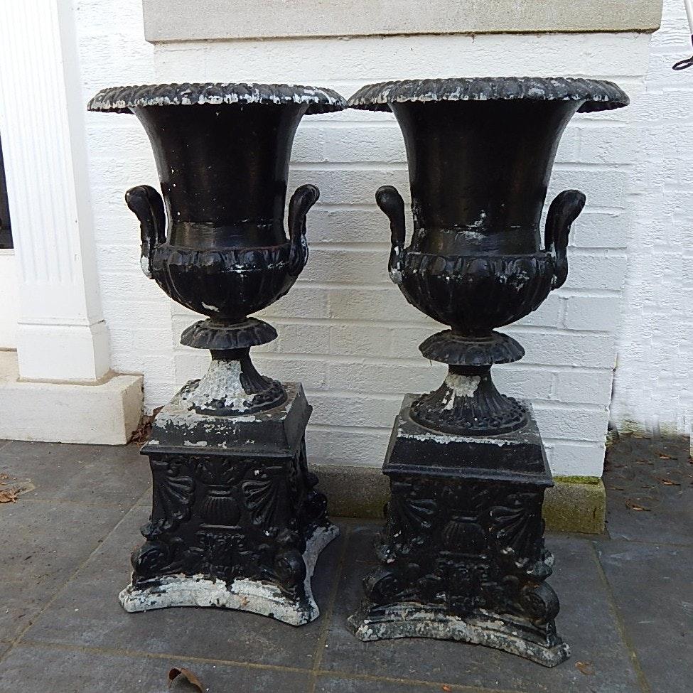 Two Large Vintage Cast Aluminum Urns