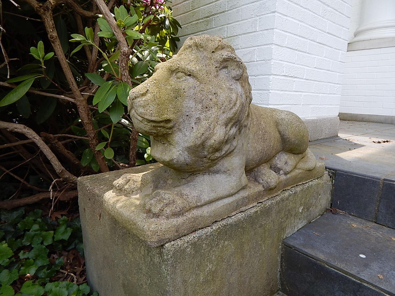 Two Concrete Lion Patio Statues ...