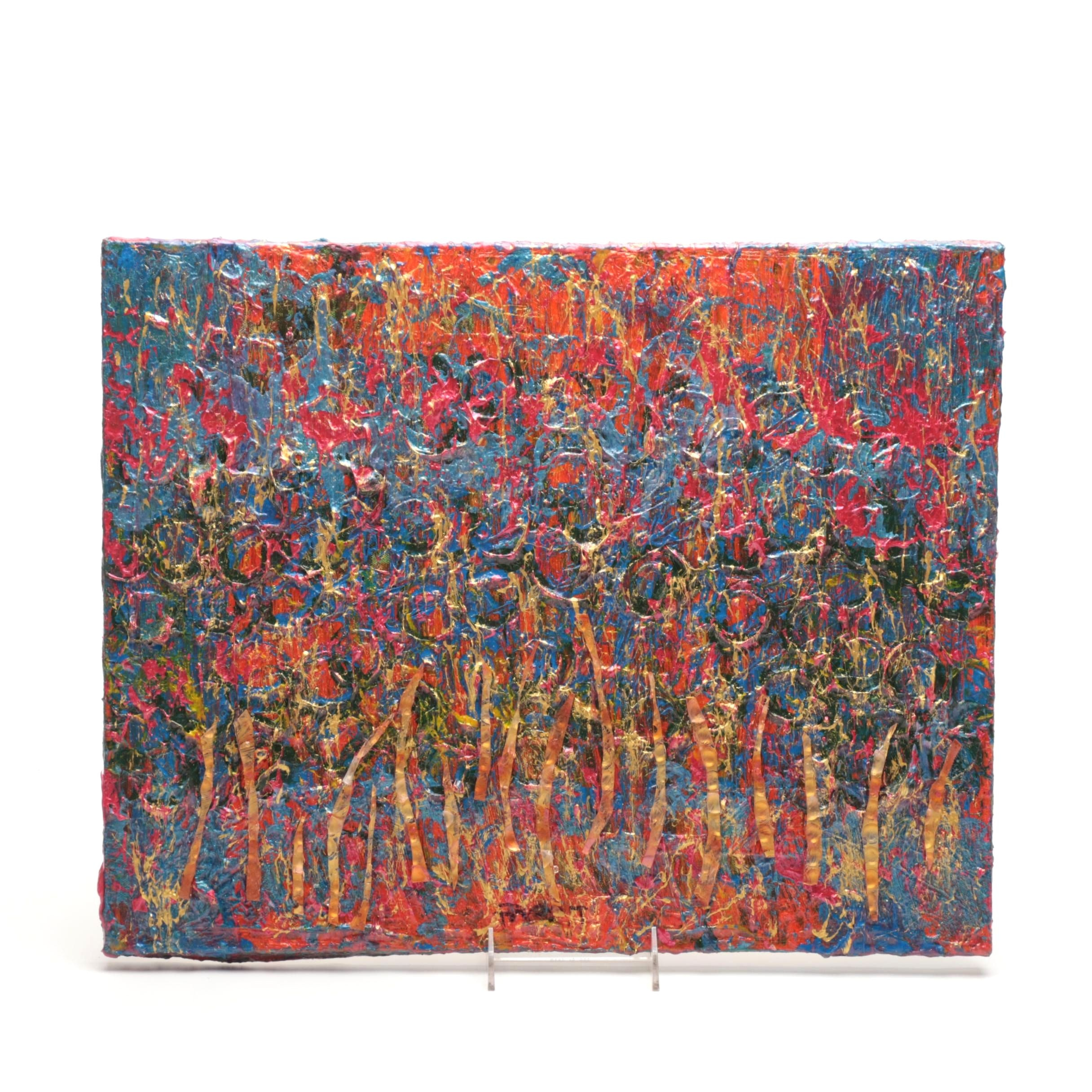 "Trent Altman Mixed Media Painting on Canvas ""A Beaming Summer Field"""