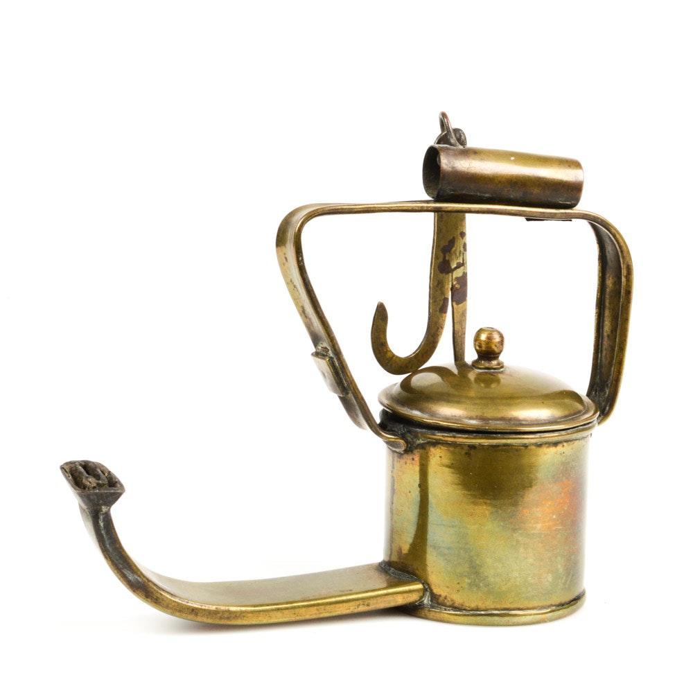 Antique Brass Hanging Oil Lamp