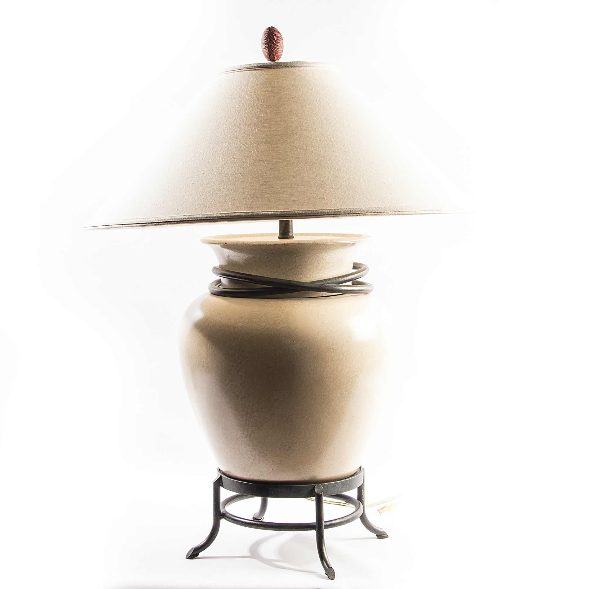 Large Ceramic and Metal Lamp