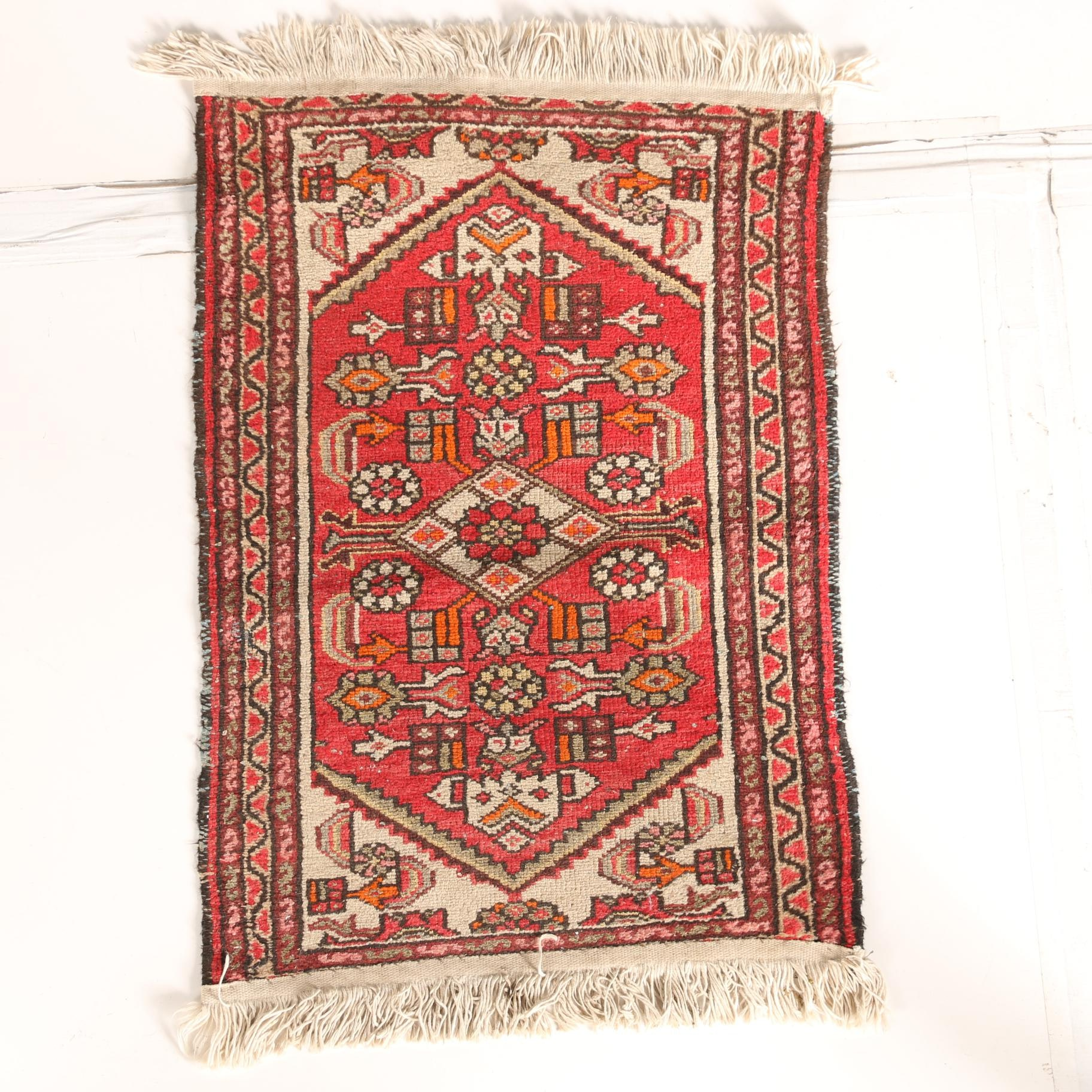 Hand-Knotted Persian Abadeh Accent Rug