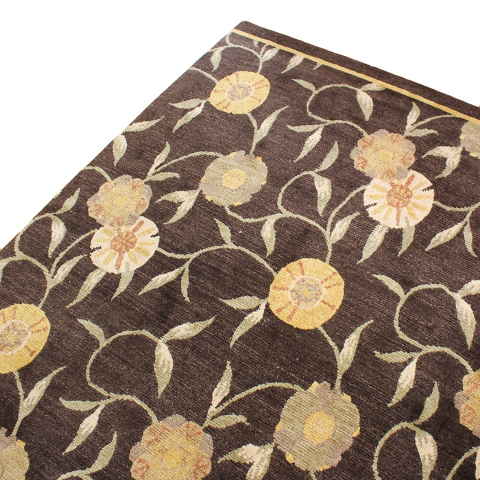 Machine-made Brown Floral Area Rug
