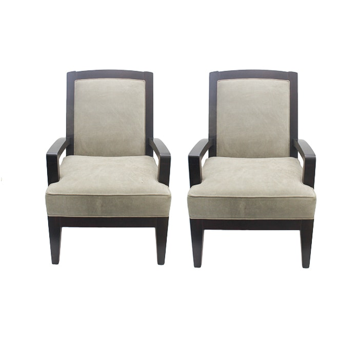 Contemporary Suede Upholstered Arm Chairs by Crate & Barrel