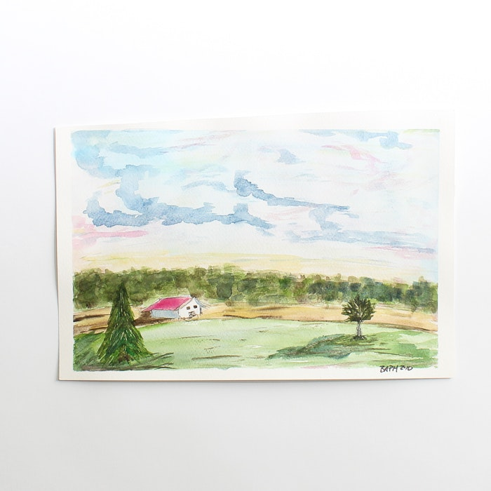 Original Landscape Watercolor by Barabara Hubschman