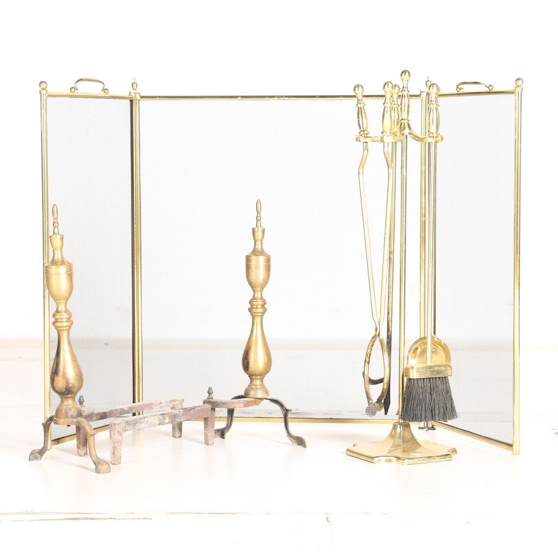 Vintage Brass Fireplace Tools