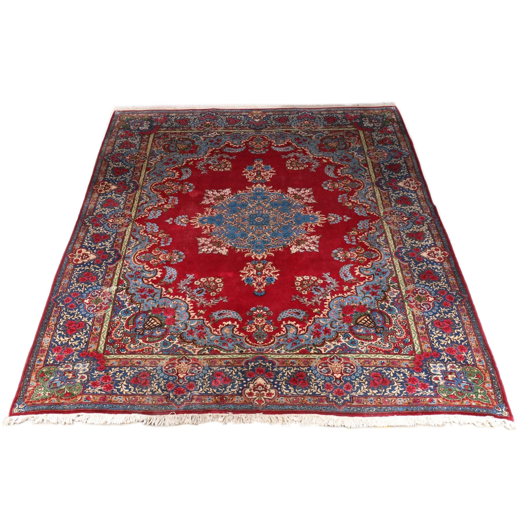 Hand-Knotted Persian Kerman Area Rug