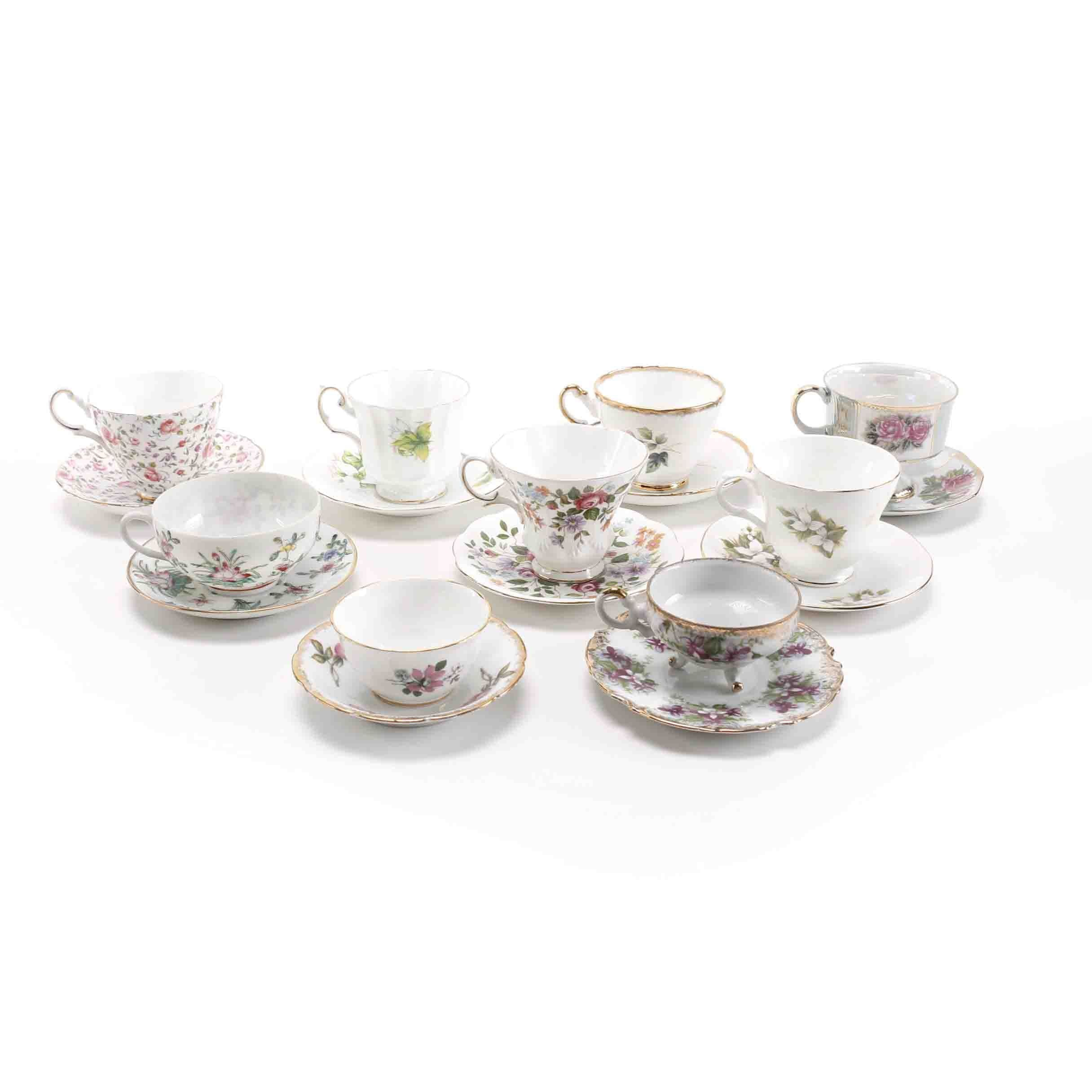 Collection of Floral Themed Cups And Saucers