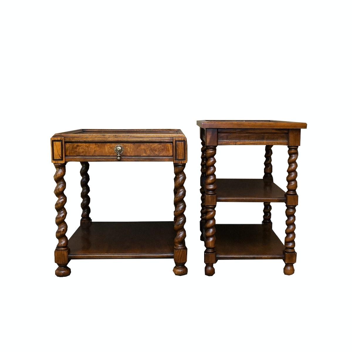 Oak Barley Twist Leg Side Tables ...