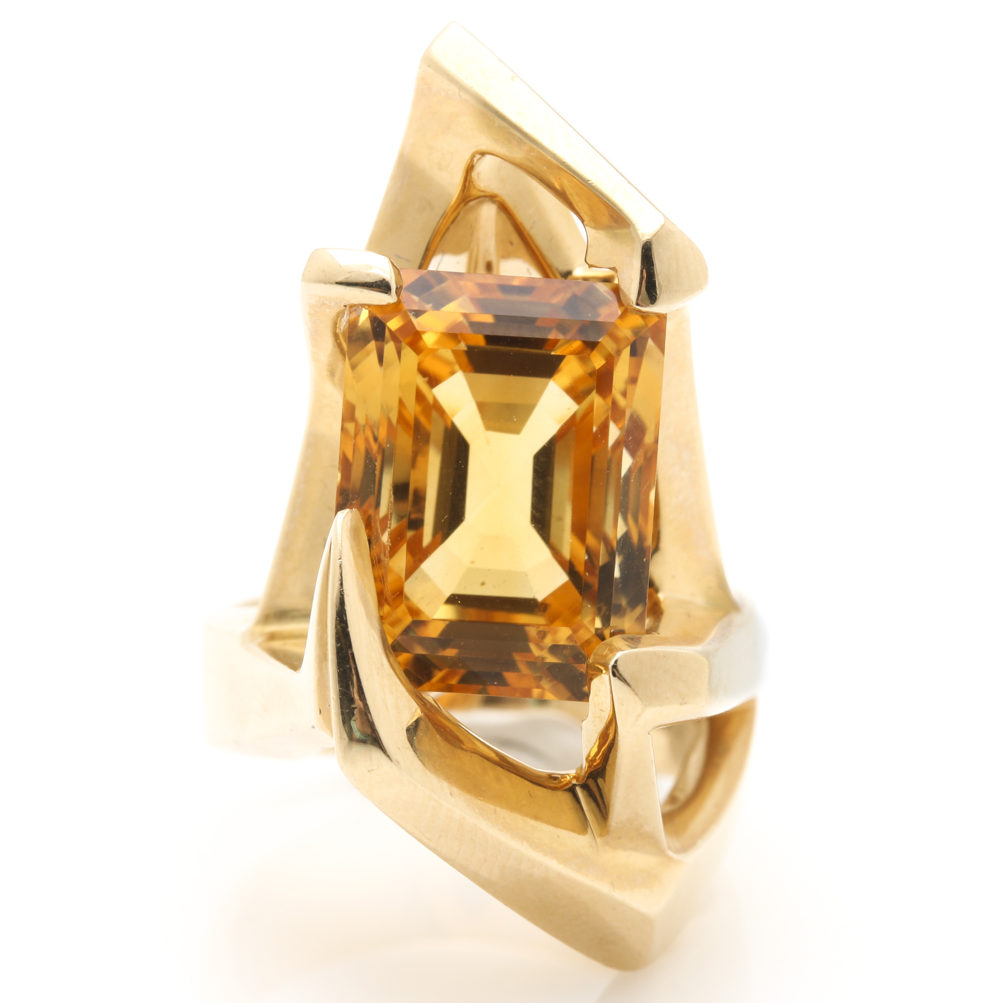 Contemporary Abstract 14K Yellow Gold 12.90 CTS Citrine Ring