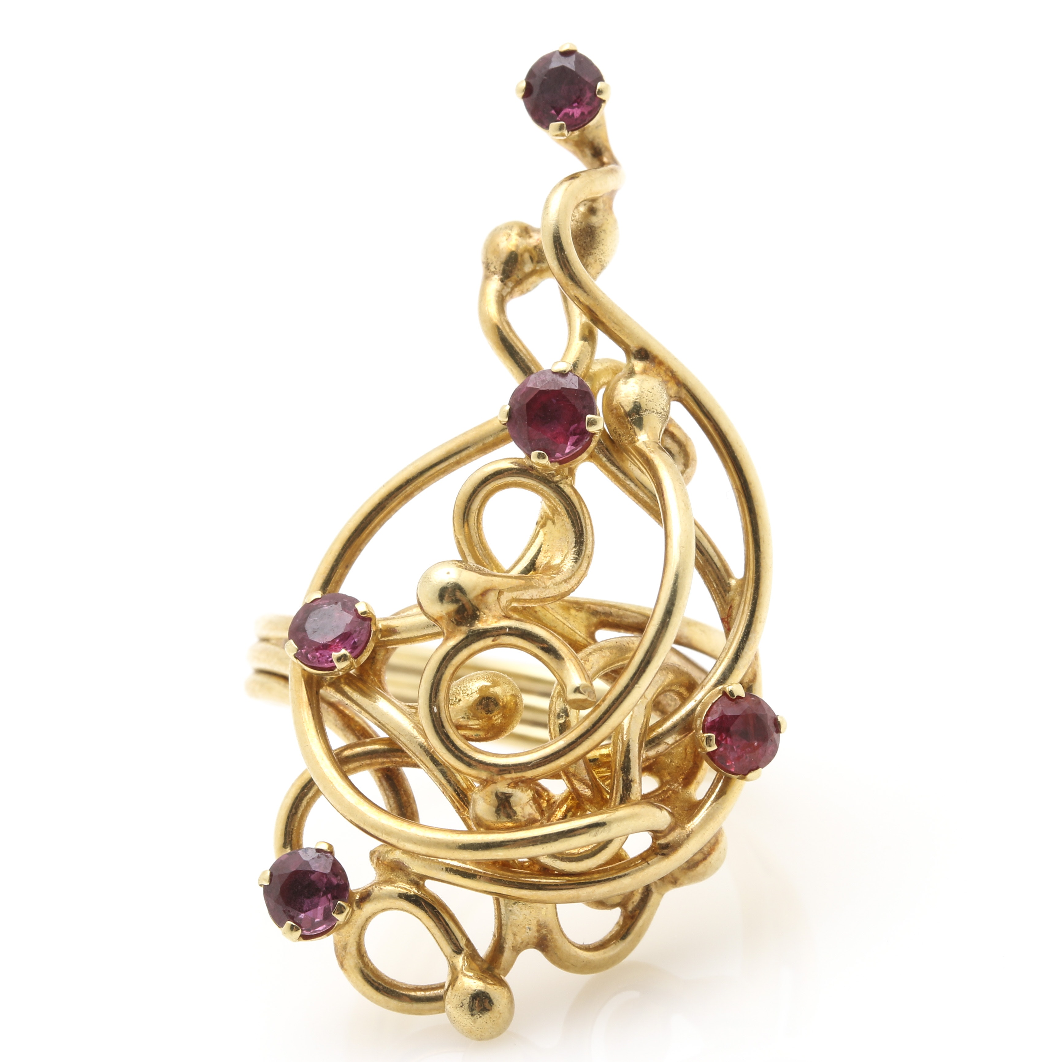 Scrolled 14K Yellow Gold Ruby Ring