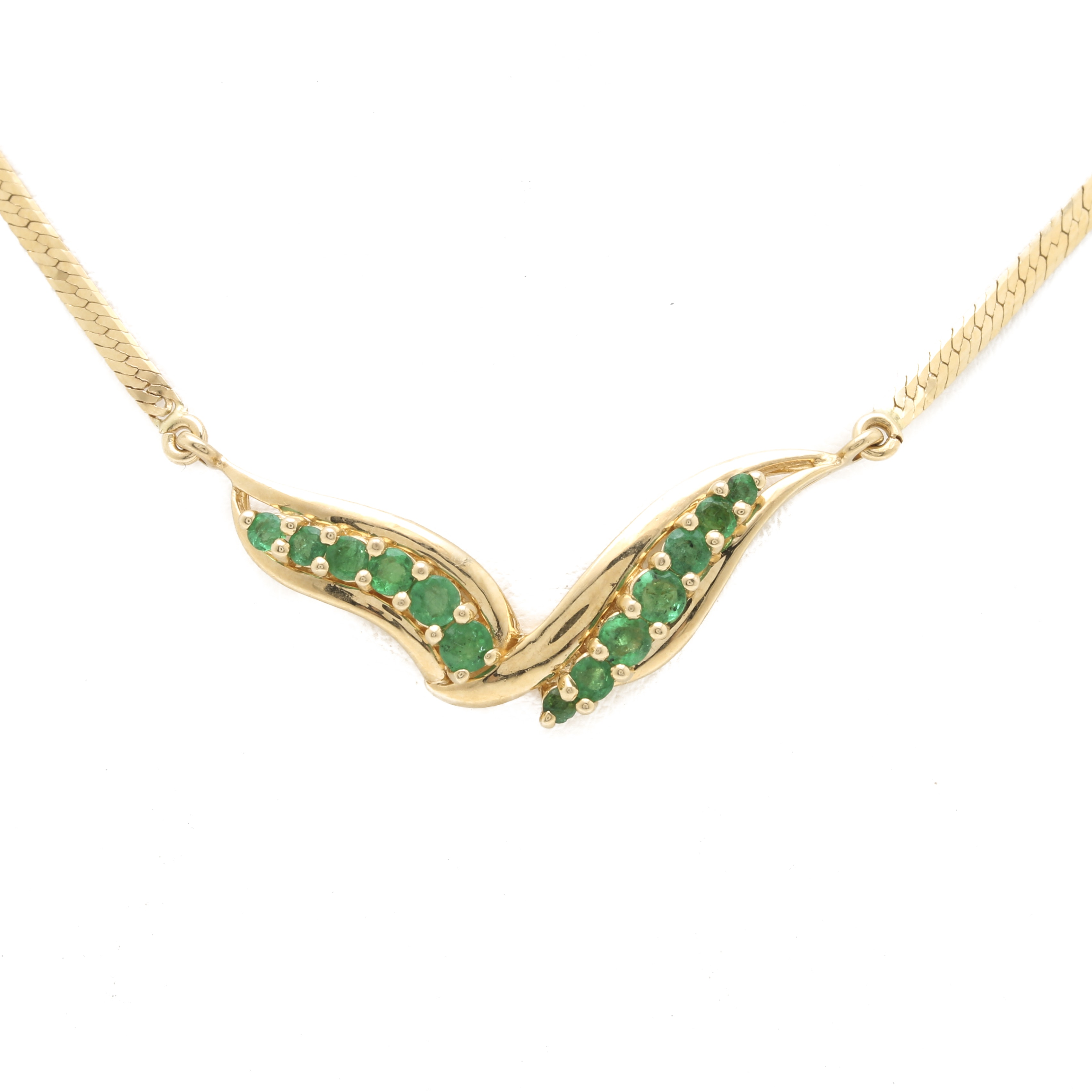 14K Yellow Gold Emerald Bypass Necklace