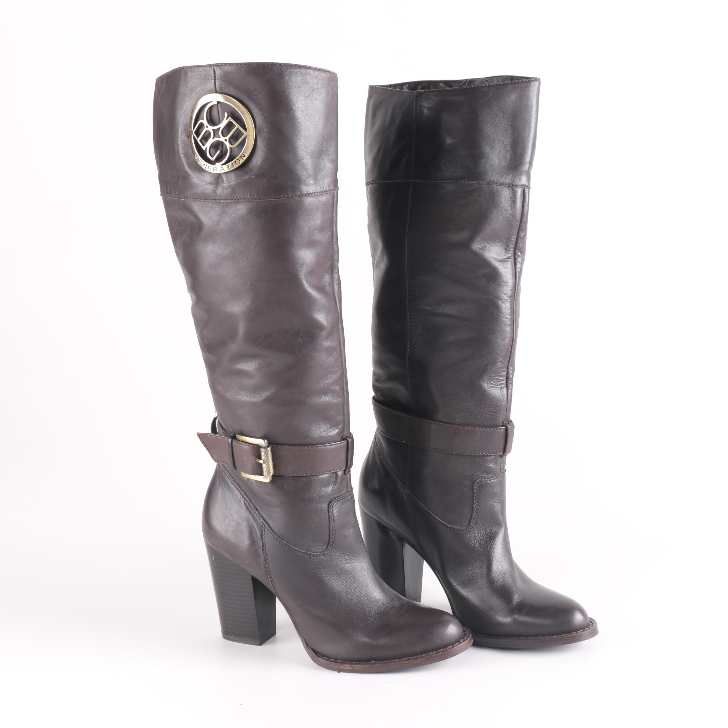 BCBG Brown Leather Boots