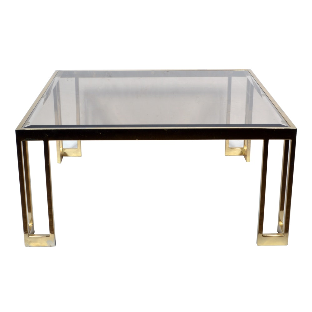Brass Tone and Glass Coffee Table