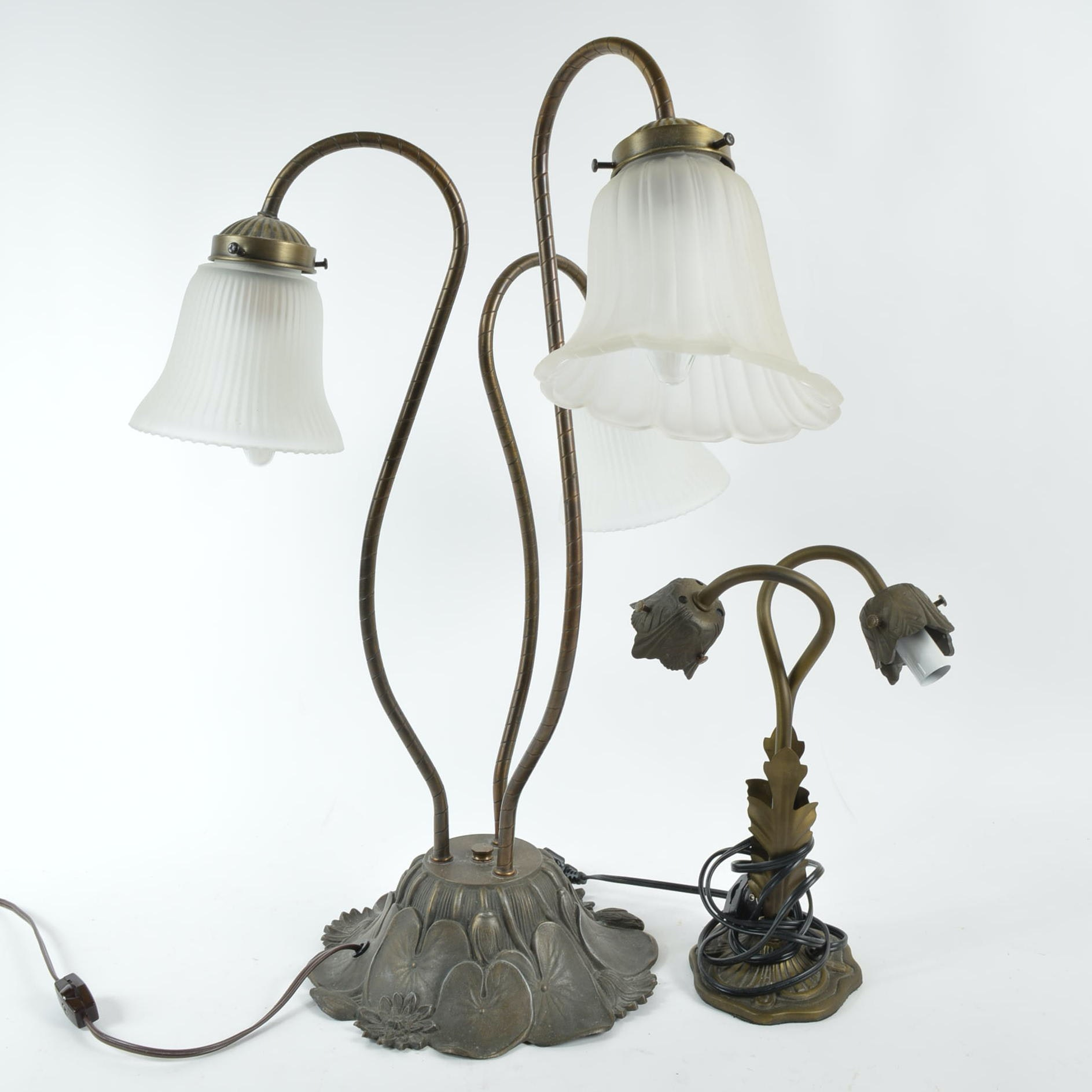 Art Nouveau Style Metal Lily Pad and Flower Table Lamps