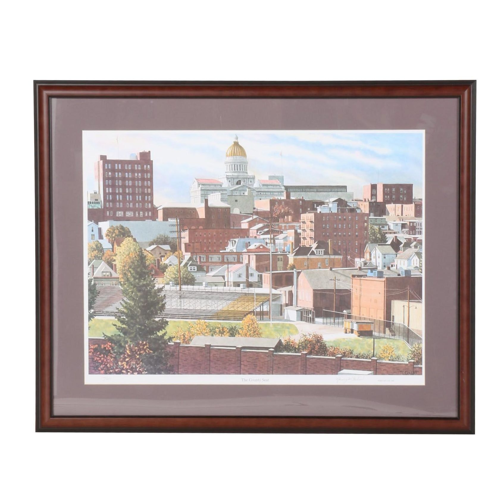 "Nancy Galm Limited Edition Offset Lithograph ""County Seat"""