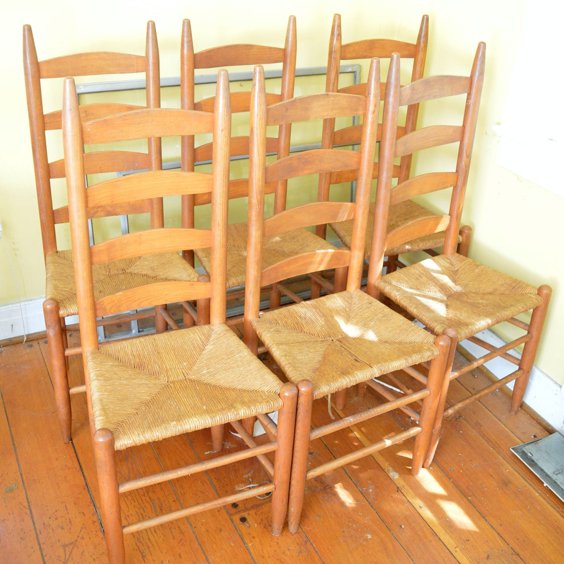 Ladder Back Chairs with Rush Woven Seat