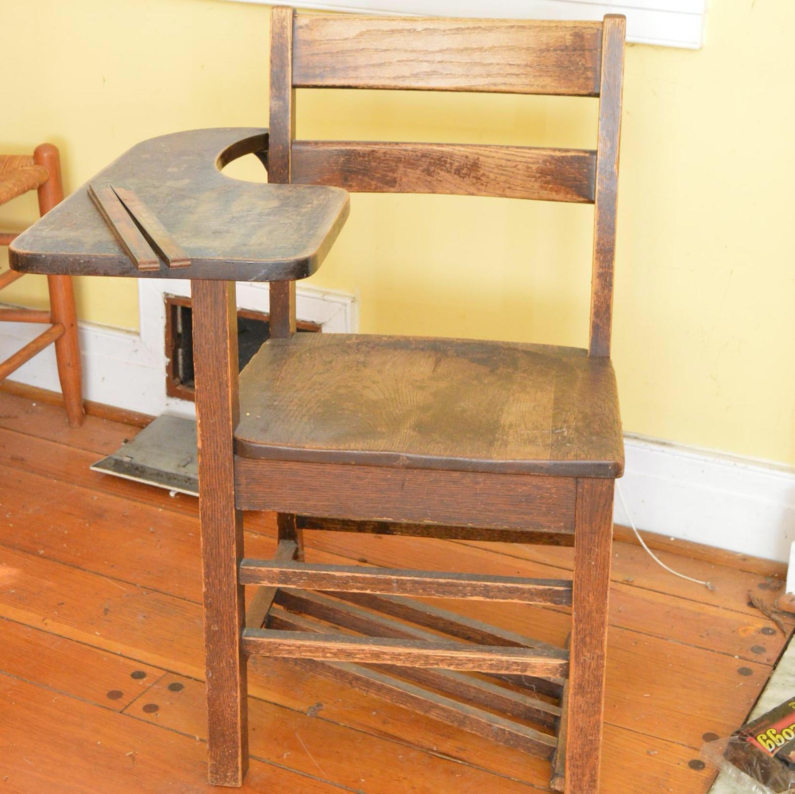 Wooden Children's School Desk and Ruler