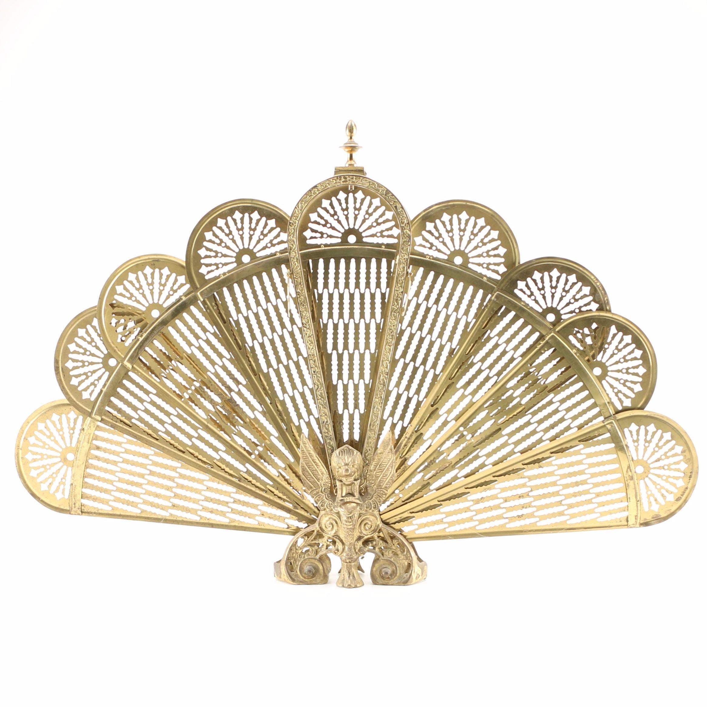 Vintage Brass Peacock Fan Fireplace Screen