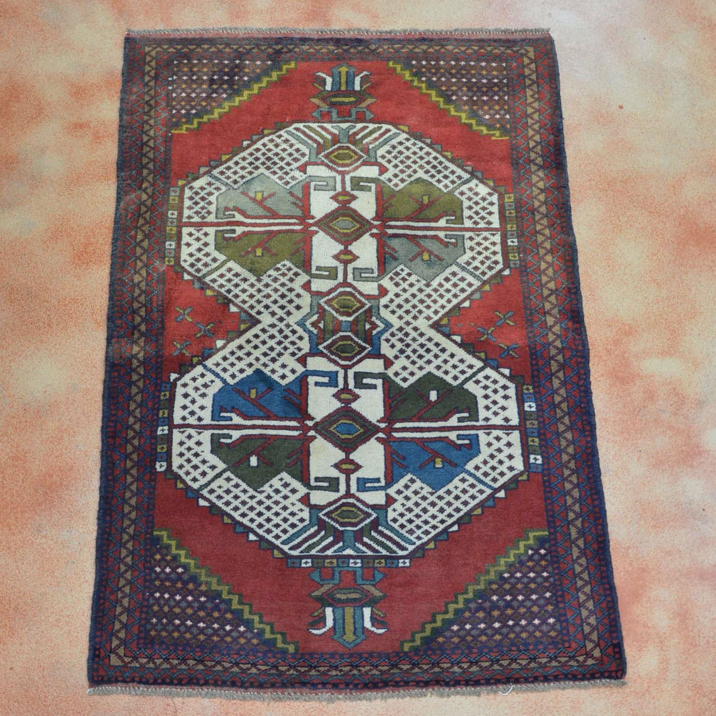 Hand Knotted Kurdish Accent Rug