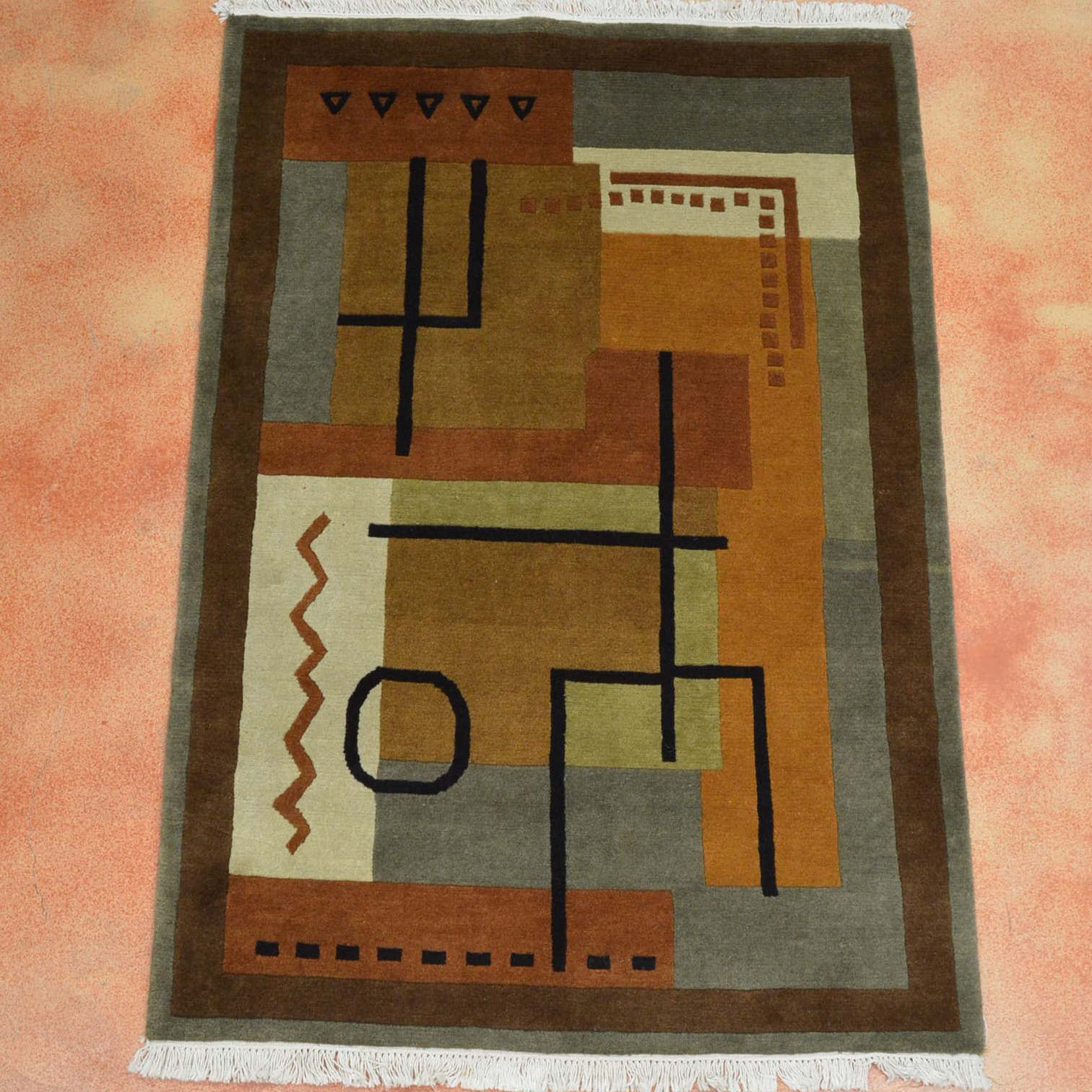 Hand Knotted Indian Contemporary Area Rug