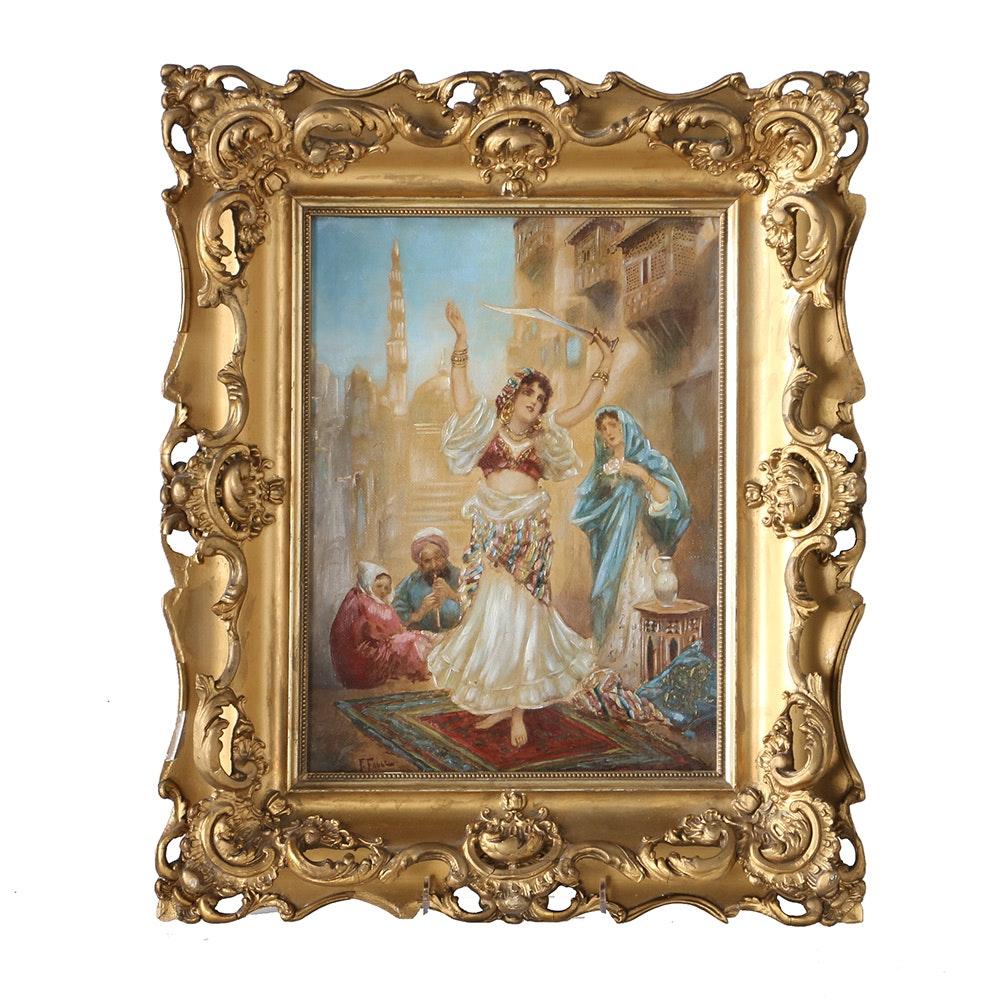 Original 1900 Fabio Fabbi Oil Painting of a Sword Dancer