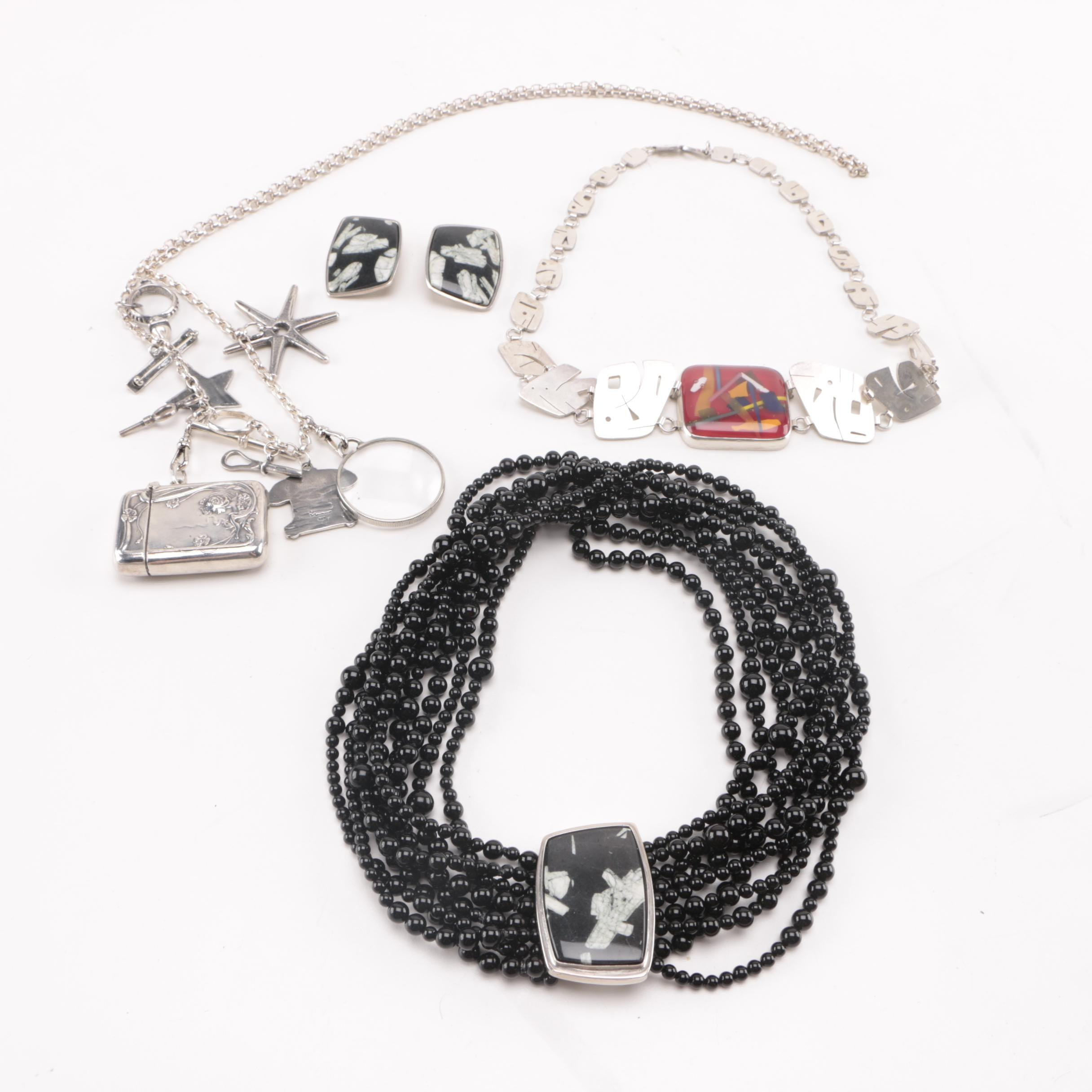 Sterling Silver Necklaces and Earrings Including Signed Pieces