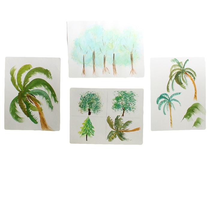 Signed Original Watercolors of Trees by Barabara Hubschman