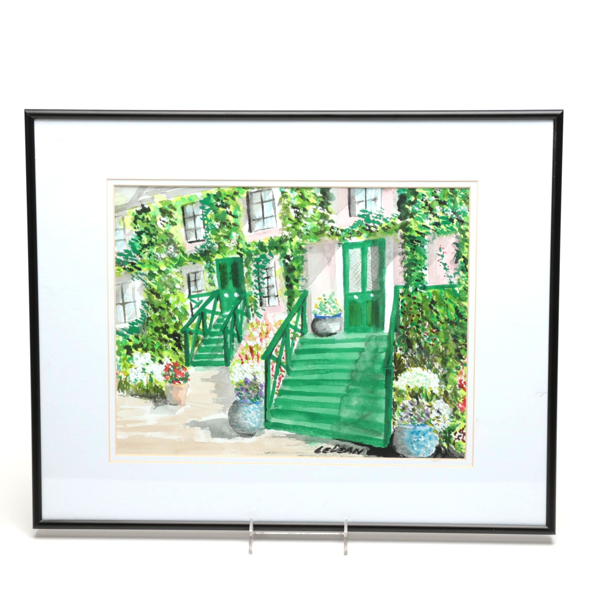 LeDean Watercolor Painting on Paper of Monet's Home