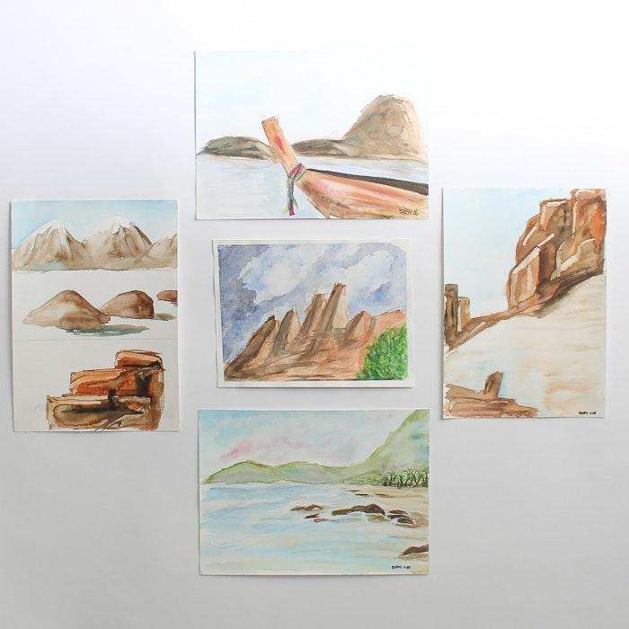 Original  Watercolor Mountain Paintings by Barabara Hubschman