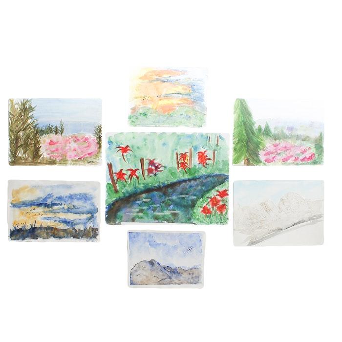 Original Watercolor Landscape Paintings by Barabara Hubschman