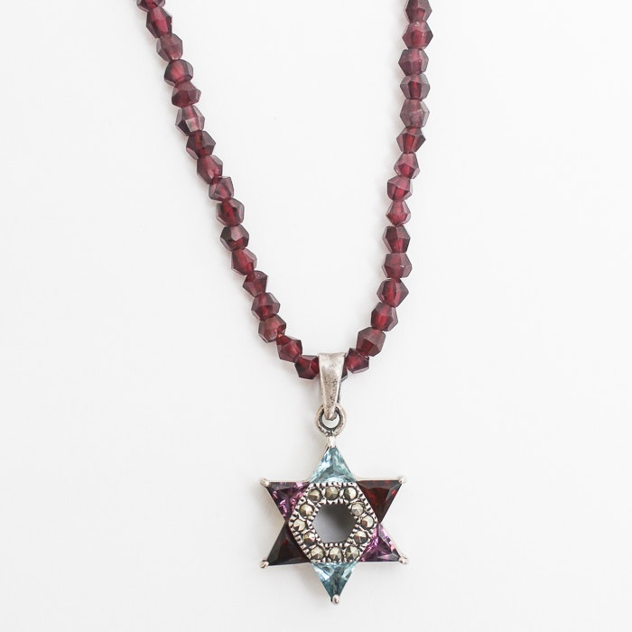 Sterling Silver and Gemstone Star of David Necklace